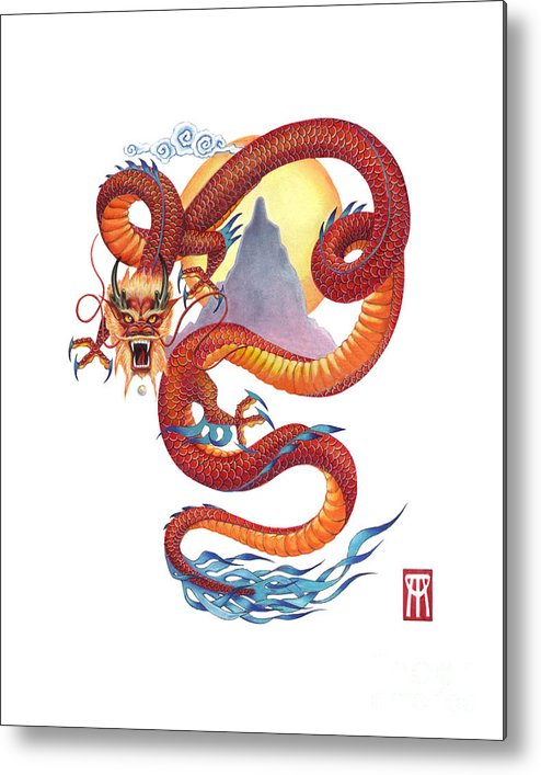 Dragon Metal Print featuring the painting Chinese Red Dragon by Melissa A Benson