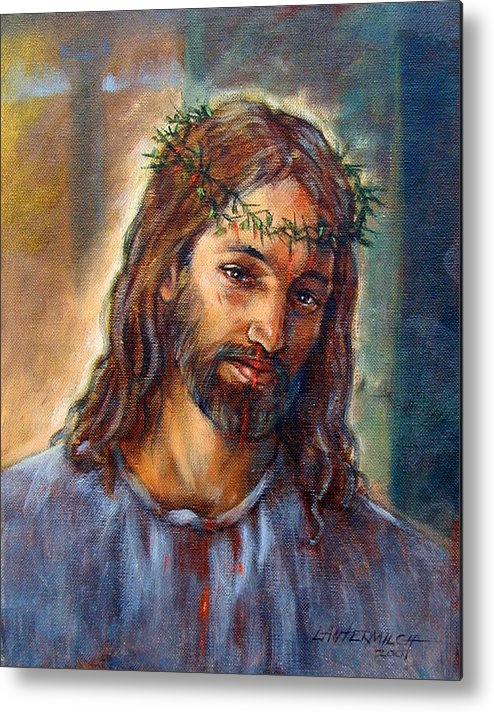 Christ Metal Print featuring the painting Christ With Thorns by John Lautermilch
