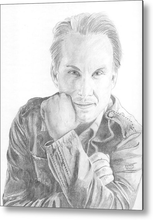 Christian Slater Metal Print featuring the drawing Christian Slater by David Seter