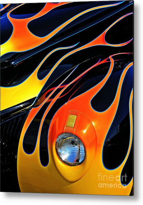 Hot Rod Metal Print featuring the photograph Classic Flames by Perry Webster