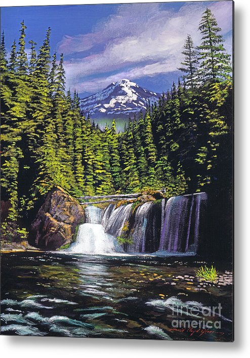 Forest Metal Print featuring the painting Cold Water Falls by David Lloyd Glover