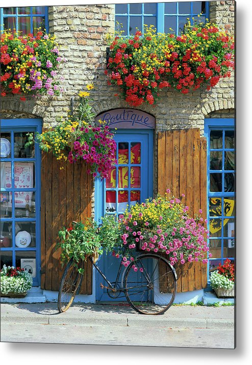 Bicycle Metal Print featuring the photograph Colourful Boutique,france. by Philip Enticknap