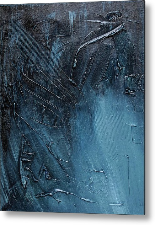 Abstract Art Metal Print featuring the painting Complex Blues by Trisha Pena