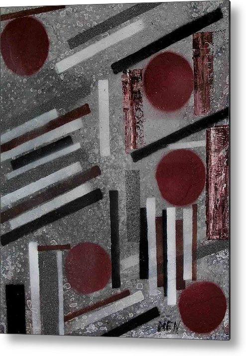 Metal Print featuring the painting Construction On Dirty Snow by Evguenia Men