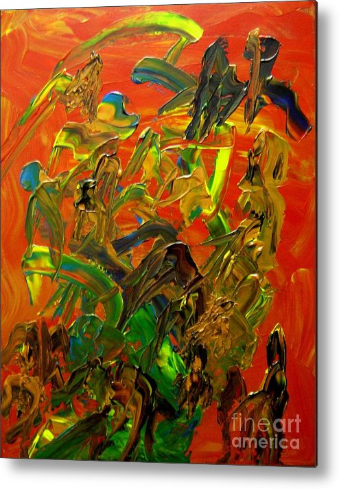 Abstract Metal Print featuring the painting Conversations by Karen L Christophersen