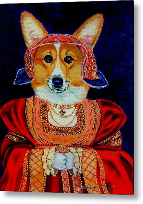 Pembroke Welsh Corgi Metal Print featuring the painting Corgi Queen by Lyn Cook
