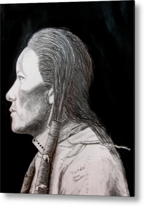 Indian Portrait Metal Print featuring the drawing Coutudle by Stan Hamilton