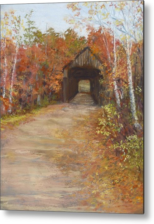 Covered Bridge Metal Print featuring the painting Covered Bridge Southern Nh by Jack Skinner