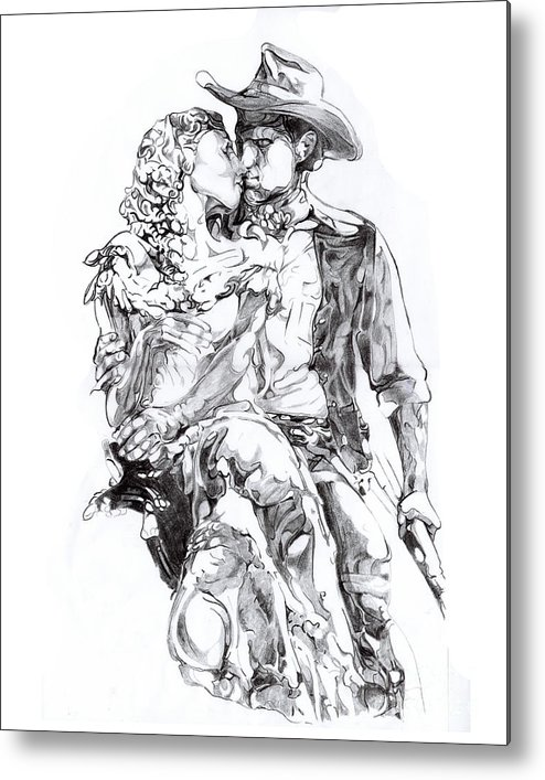Black And White Metal Print featuring the drawing Cowboy by Mike Massengale