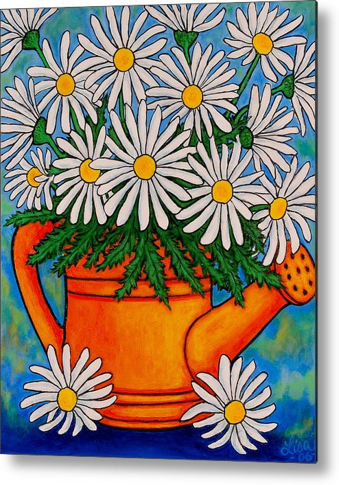 Daisies Metal Print featuring the painting Crazy For Daisies by Lisa Lorenz