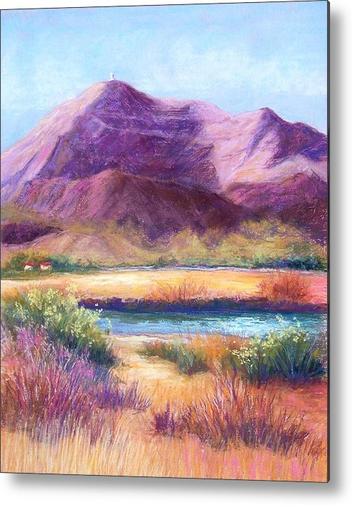 Landscape Metal Print featuring the pastel Cristo Rey In Autumn by Candy Mayer