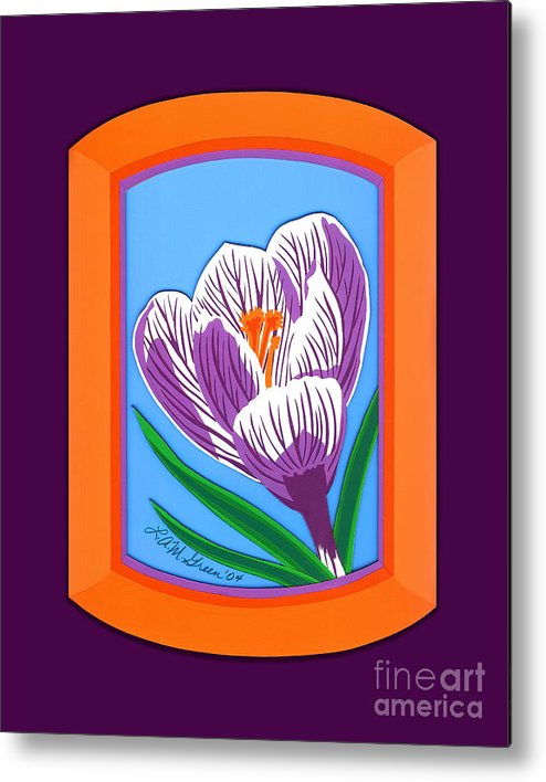 Nature Metal Print featuring the drawing Crocus by Lucyna A M Green