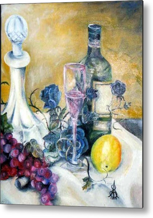 Still Life Metal Print featuring the painting Crystal Clear by Amanda Sanford