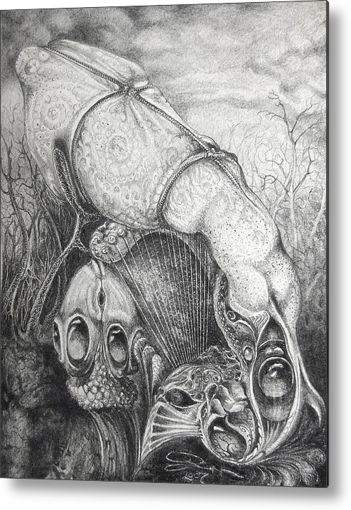 Surrealism Metal Print featuring the drawing Ctulhu Seedpods by Otto Rapp