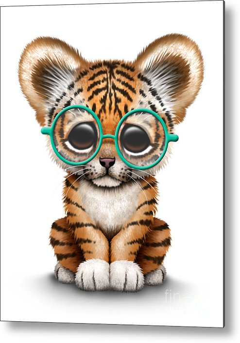 Cute tiger cub wearing glasses metal print by jeff bartels tiger metal print featuring the digital art cute tiger cub wearing glasses by jeff bartels altavistaventures Gallery