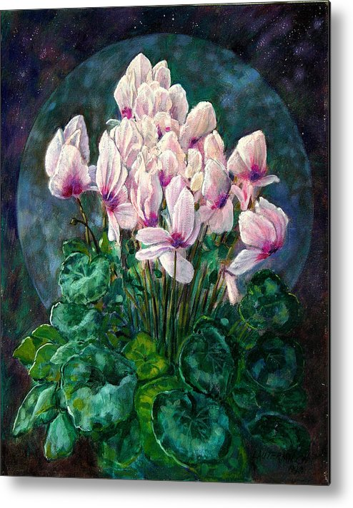 Cyclamen Flowers Metal Print featuring the painting Cyclamen In Orbit by John Lautermilch
