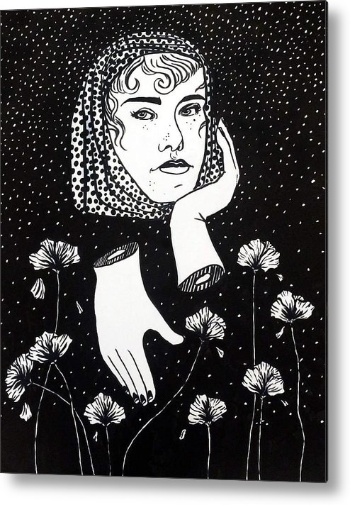 Illustration Metal Print featuring the drawing Dahlia by Erin O'Face