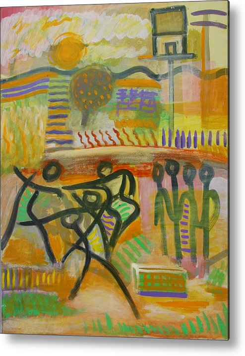 Abstract Metal Print featuring the painting Dancing by Michael Keogh