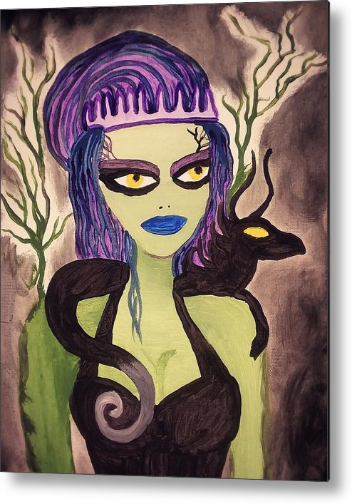 Woman Metal Print featuring the painting Dark Fairy With Dragon Friend by Vale Anoa'i