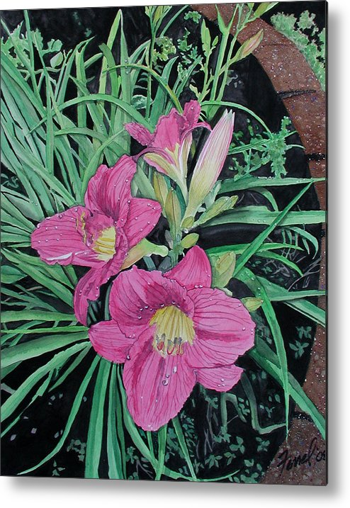 Day Lily Metal Print featuring the painting Day Llily by Ferrel Cordle