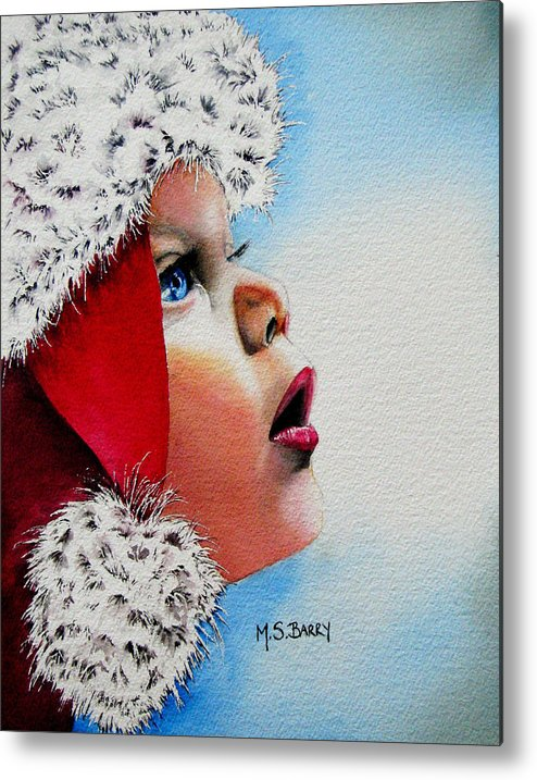 Child Metal Print featuring the painting Dear Santa by Maria Barry