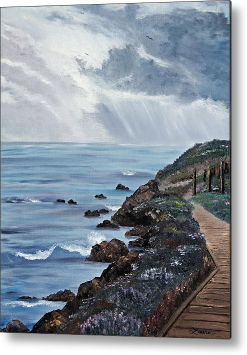 Seascape Metal Print featuring the painting Departing Storm by Laura Iverson
