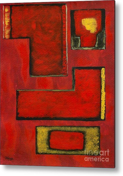 Red Metal Print featuring the painting Detached by Itaya Lightbourne