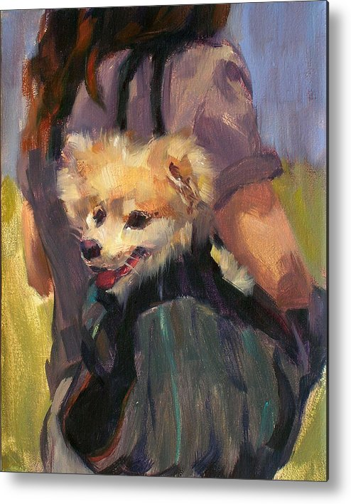 Dog Metal Print featuring the painting Dog In A Backpack by Merle Keller