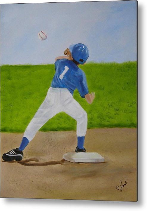 Sports Metal Print featuring the painting Double Play by Joni McPherson