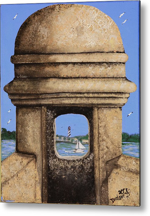 St. Augustine Lighthoue Metal Print featuring the painting Double Sentry by Darlene Green