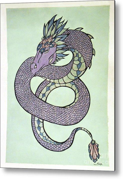 Dragon Metal Print featuring the painting Dragon by Sara Matthews