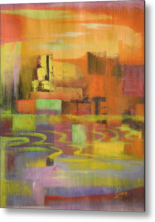 Abstract Metal Print featuring the painting Dream City No.4 by Lian Zhen