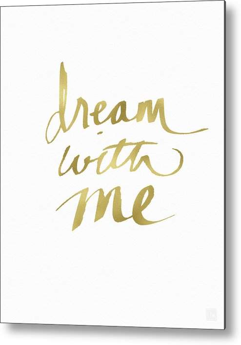Dream Metal Print featuring the painting Dream With Me Gold- Art By Linda Woods by Linda Woods