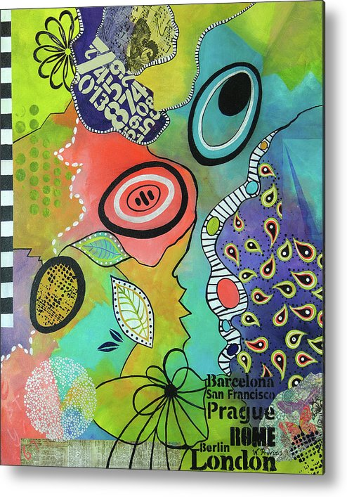 Mixed Media Metal Print featuring the mixed media Dreaming In Colour 2 by Wendy Provins