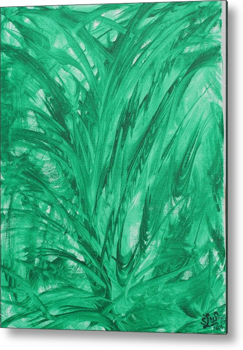 Absract Metal Print featuring the painting Earth by Sandra Winiasz