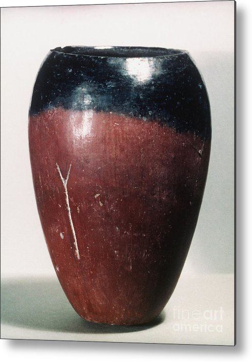 4000 B.c. Metal Print featuring the photograph Egyptian Vase, C4000 B.c by Granger