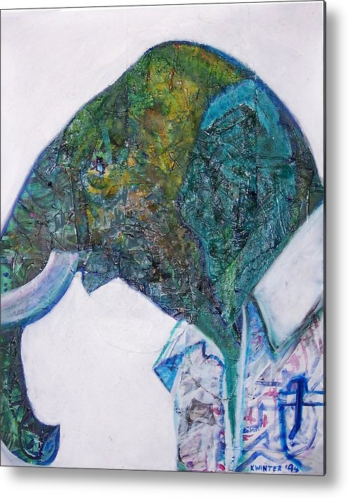 Elephant Metal Print featuring the mixed media Elephant Man by Dave Kwinter