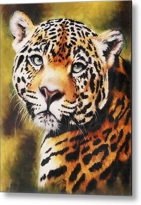 Jaguar Metal Print featuring the pastel Enchantress by Barbara Keith