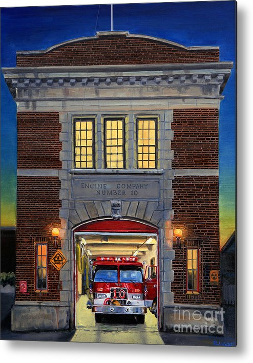 Firehouse Metal Print featuring the painting Engine Company 10 by Paul Walsh