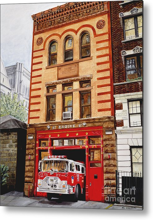 Firehouse Metal Print featuring the painting Engine Company 47 by Paul Walsh