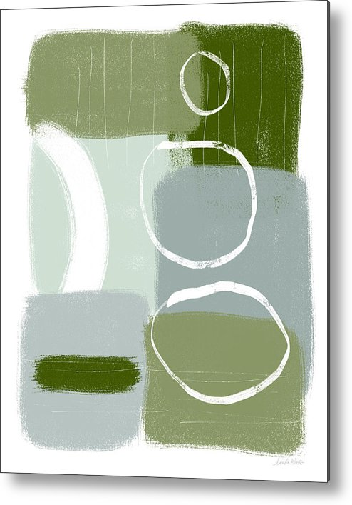 Abstract Metal Print featuring the mixed media Eucalyptus Breeze 2- Art By Linda Woods by Linda Woods