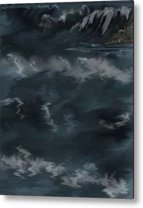 Seascape Metal Print featuring the painting Evening Lights And Rocks by Anne Norskog