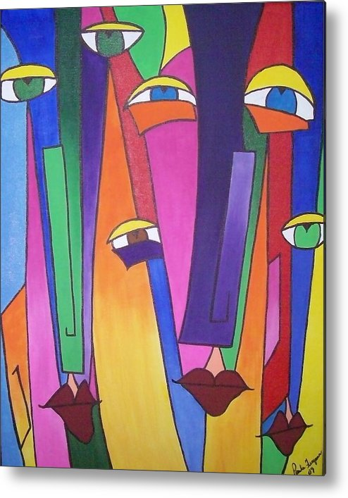 Colorful Fido Metal Print featuring the painting Eyes On You by Paula Ferguson