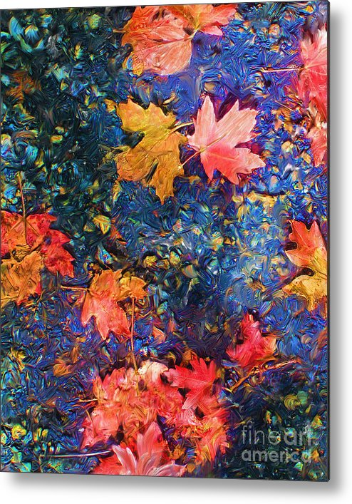 Fall Metal Print featuring the mixed media Falling Blue Leave by Marilyn Sholin