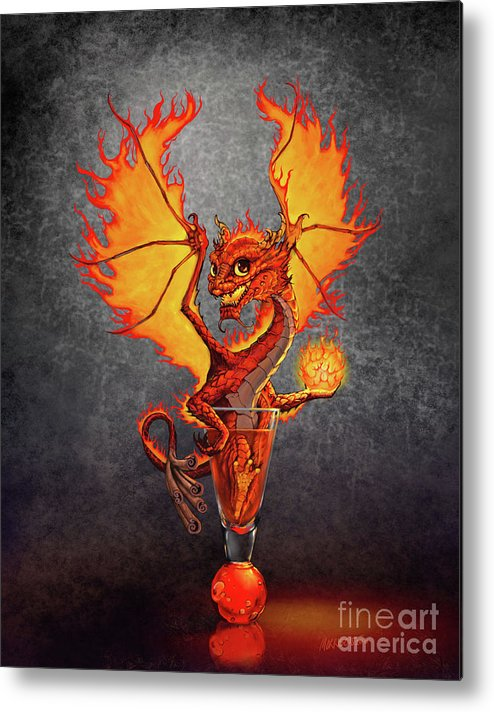 Dragon Metal Print featuring the digital art Fireball Dragon by Stanley Morrison