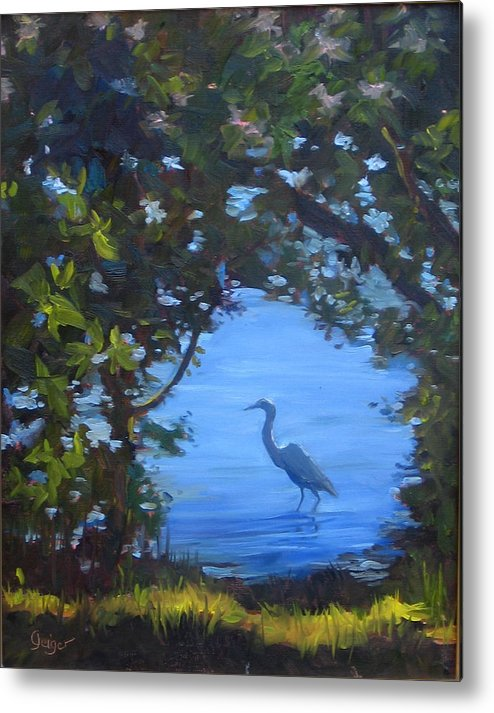 Seascape Metal Print featuring the painting Fishing For Dinner by Pamela Geiger