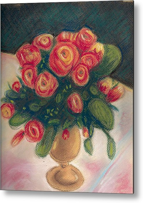 Impressionist Pastel Floral Still Life Roses Spring Metal Print featuring the painting Flamingo Bouquet by Hilary England