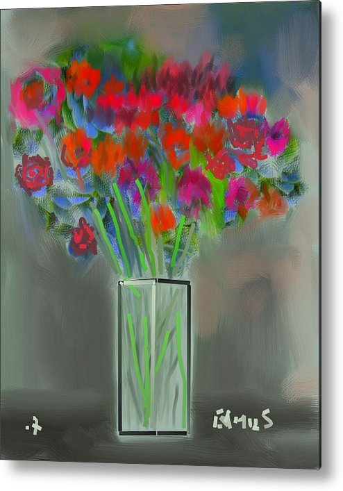 Art Metal Print featuring the painting Flores 1 by Carlos Camus