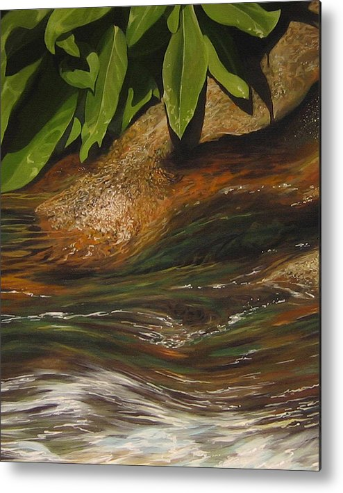 Colorado Mountain Stream Metal Print featuring the painting Flow by Hunter Jay