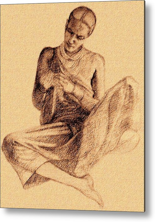 Tribal Lady Metal Print featuring the drawing Flower Lady by Claudio Fiori